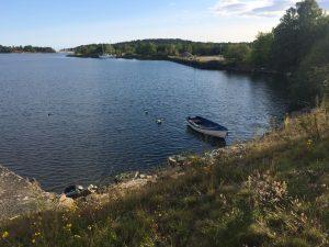 Båten är ankrad en lite bit från vraket som ligger längst vattenkanten.